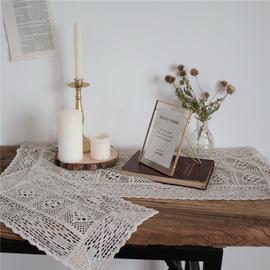 风物札记 纯棉桌布餐垫钩针蕾丝镂空简约田园纯色台布拍摄背景布