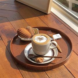 ins日式圆形木托盘茶盘咖啡厅茶水盘点心盘家用收纳盘餐盘图片