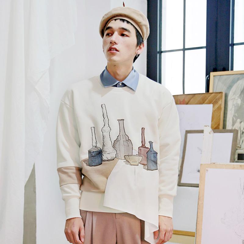 安塞尔 静物贴布刺绣复古宽松版潮流秋款卫衣 山谷少年设计师男装