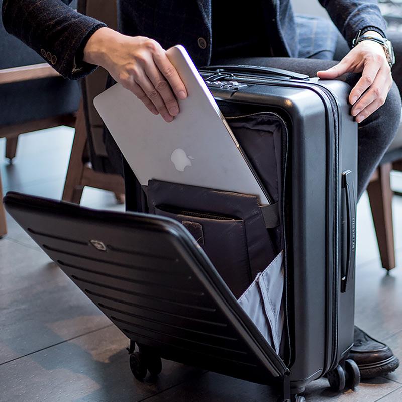 (用100元券)前开口商务电脑登机箱20行李箱双锁黑色短途旅行出差硬箱耐磨便携