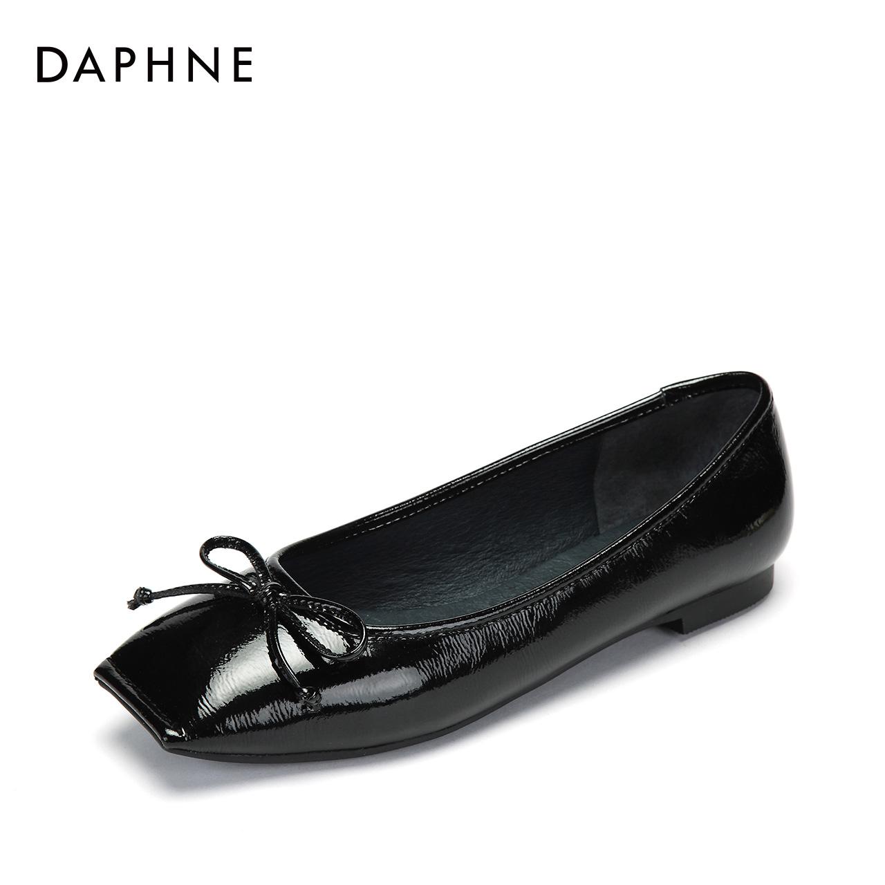 Daphne/达芙妮秋新款方头单鞋真皮内里蝴蝶结女鞋子1018404099
