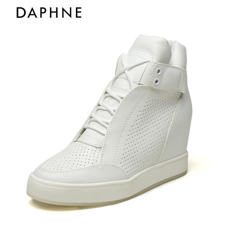 Daphne/达芙妮冬季内增高坡跟女鞋系带高帮鞋1515605040