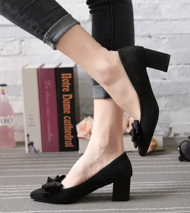 Spring 2018 high heeled shoes pointed square button shallow mouth single shoes suede thick heel ol medium heel womens shoes wedding shoes black work shoes
