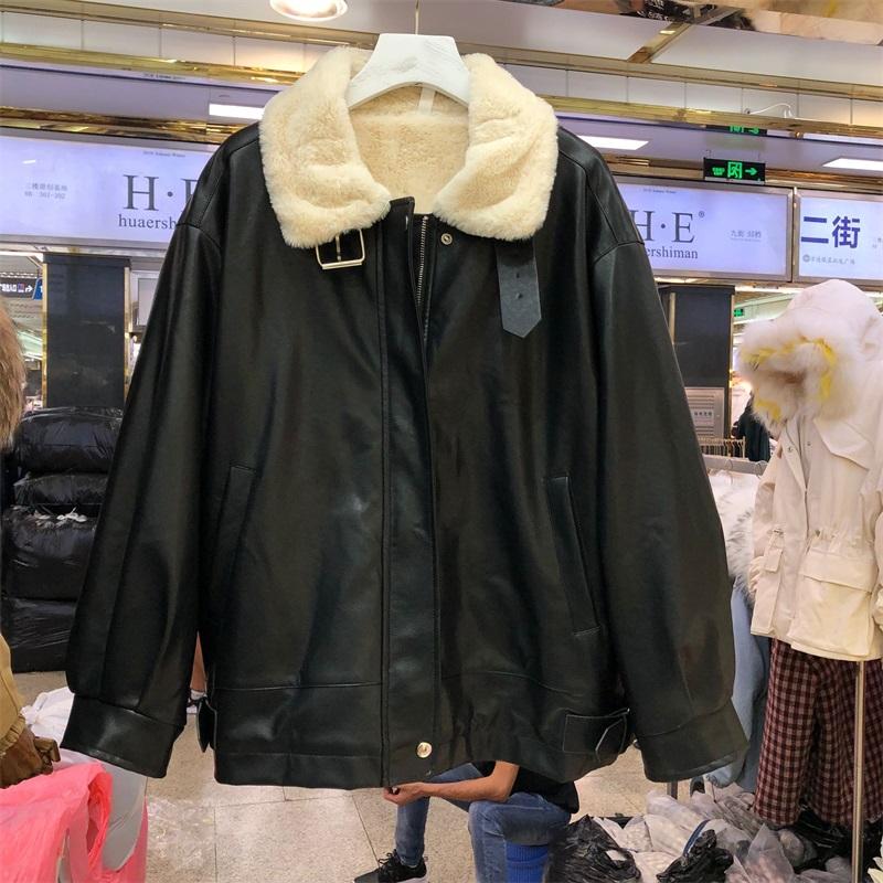 机车女孩服装酷套装2020新款韩版冬季PU皮衣加绒加厚短款皮