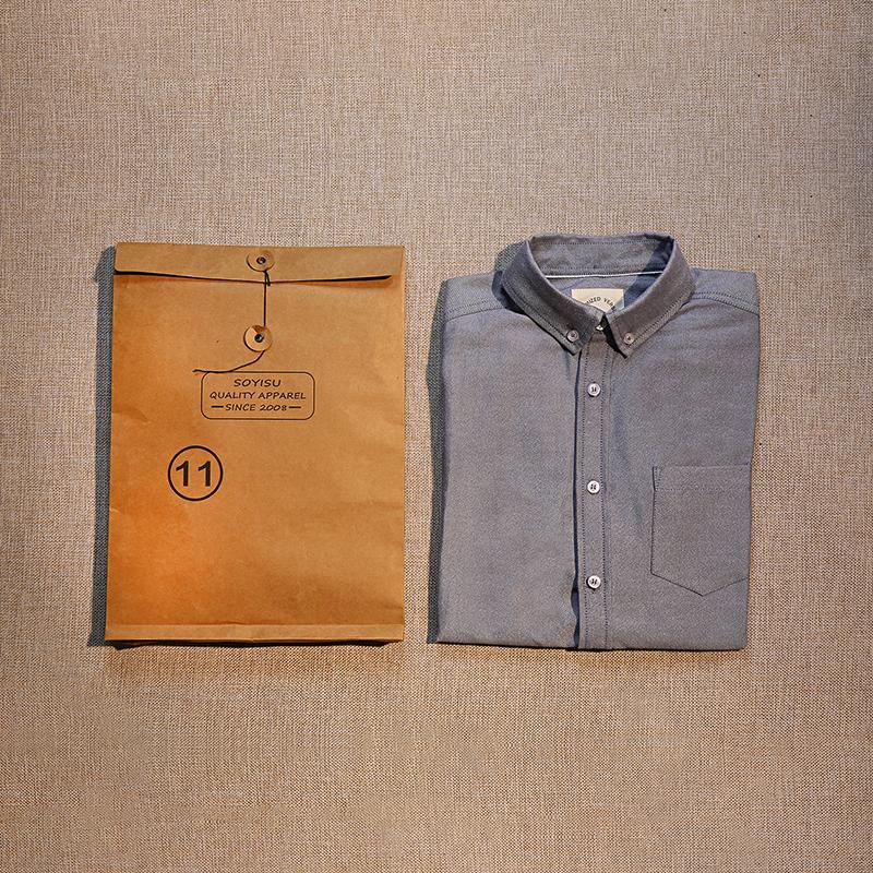 秋季原创牛津纺长袖衬衫全棉纯棉休闲男士白衬衫余文乐修身衬衣潮