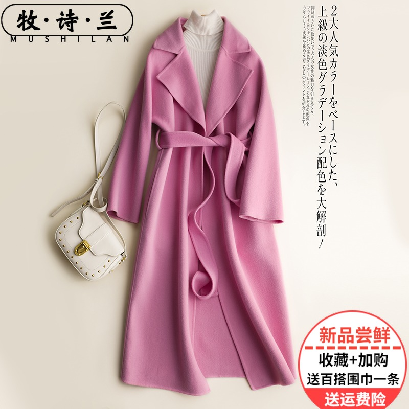 Autumn and winter 2019 new Hepburn double faced pure wool overcoat women's medium and long handmade wool tailored cashmere coat