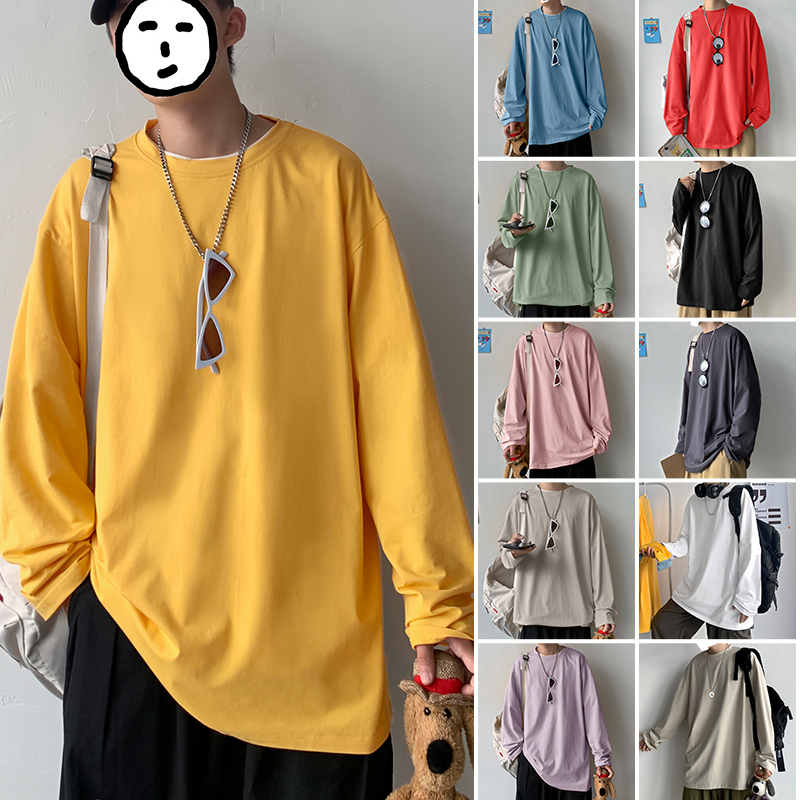 Hong Kong Style t-shirt mens cotton long sleeve solid color loose thin fashion fashion T-shirt youth ins T-shirt