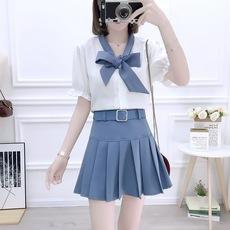实拍chic时尚套装蝴蝶结衬衫高腰半身裙甜美淑女两件套