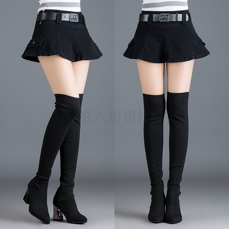 New denim skirt in autumn and winter, super short skirt, versatile, fashionable, slim and light proof A-line womens skirt