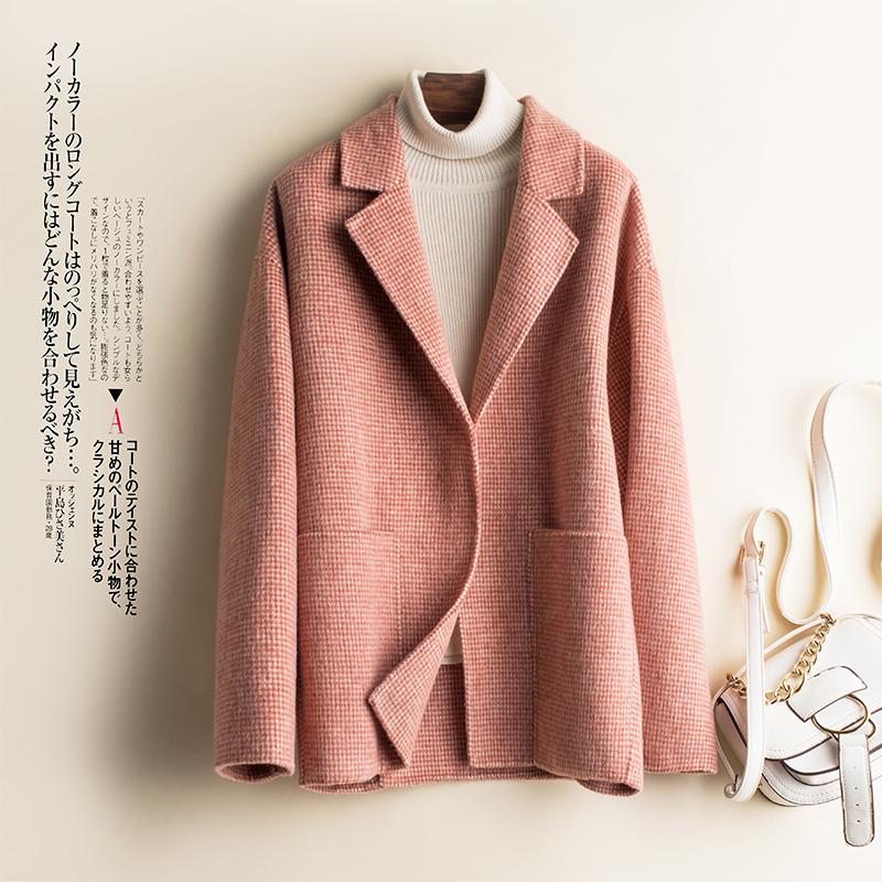 蒂克罗姆高端新款双面呢羊绒大衣女格子毛呢外套欧美100%羊毛呢