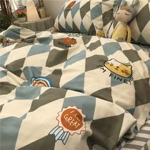 ins时尚菱格四件套 全棉纯棉小猫头1.5m1.8米被套床单北欧简约风