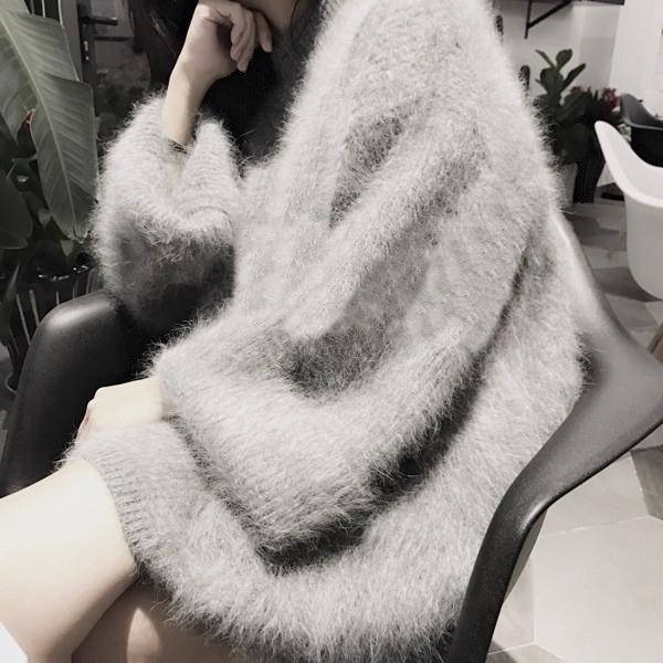 秋冬新款 加厚宽松大码中长款毛茸茸仿貂绒 保暖毛衣