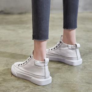 高帮小白鞋女 2021春秋季新款百搭网红真皮休闲白鞋平底爆款板鞋