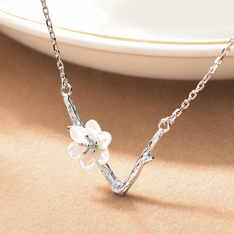 JEWME原创樱花项链925银吊坠日韩气质文艺锁骨链项链花朵生日礼物