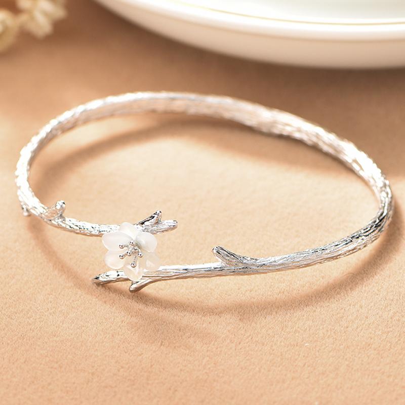 雪樱花珍珠纯银手镯