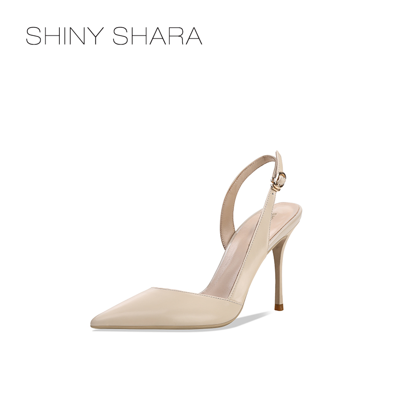 Shiny Shara / shisha 2020 summer new leather back empty single shoe side empty pointed Thin High Heels Sandals for women