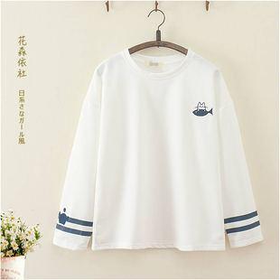 日系森女18春裝新款可愛貓咪刺繡長袖T恤學生少女休閒打底衫上衣t