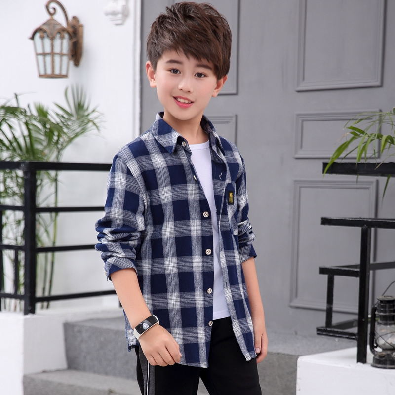 Childrens wear boys spring clothes 2019 new middle-aged and old boys spring and autumn casual Plaid Shirt Korean Edition trend