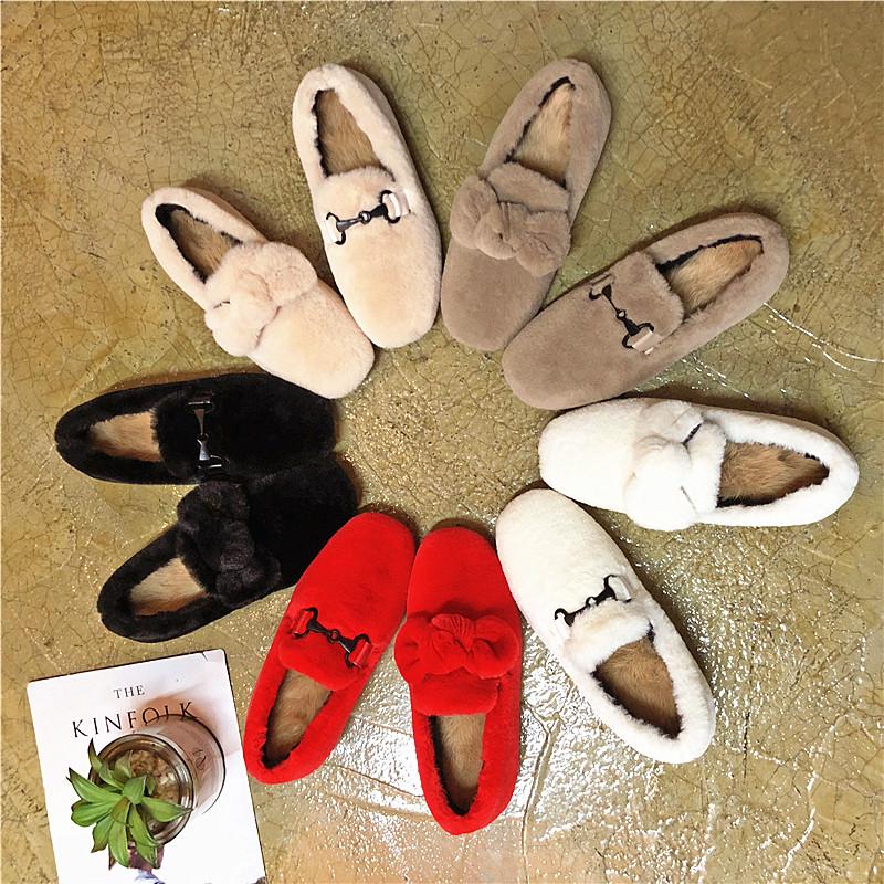 毛毛鞋女冬外穿2018韩版新款豆豆鞋羊羔毛女鞋一脚蹬网红加绒棉鞋