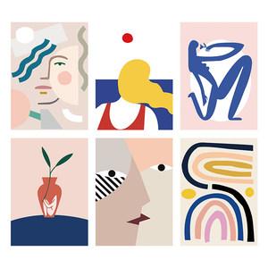 巴塞罗那艺术抽象画报装饰画进口挂画画芯打印北欧海报定制