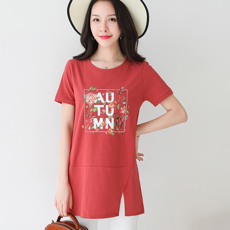 夏装红色大码2018新款打底衫短袖女装圆领宽松开叉上衣棉t恤衣服