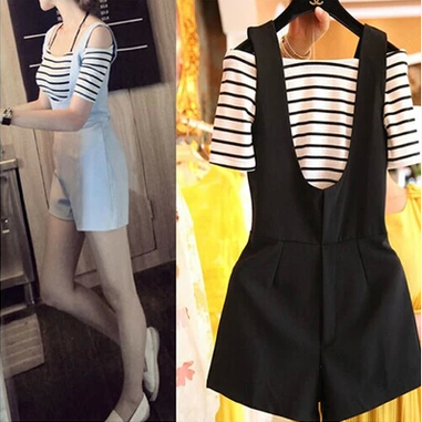 Summer students show off shoulder thin one line collar stripe short sleeve T-shirt wide leg strap one-piece shorts two piece suit for women