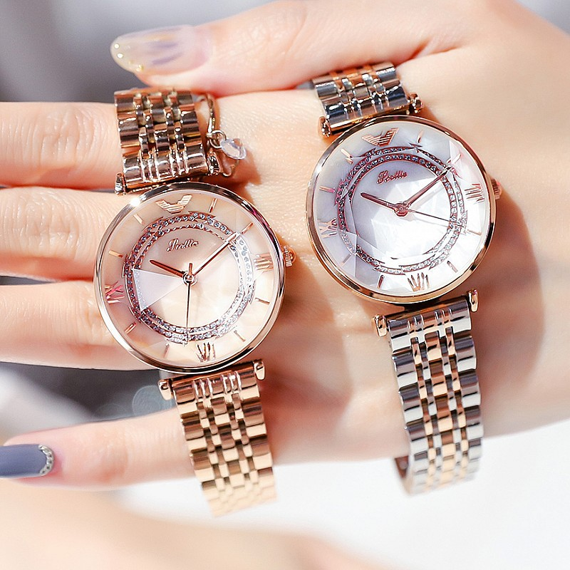 Shigaodi new fashion trend rose gold temperament celebrity wind waterproof stainless steel solid strap womens Watch