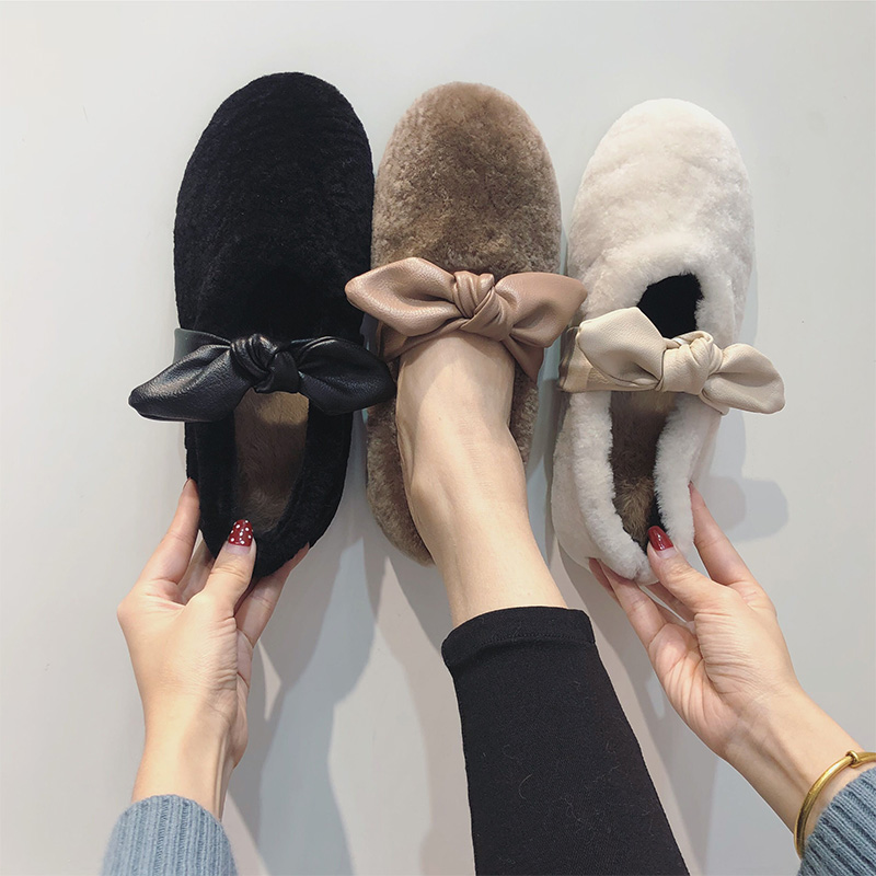 毛毛鞋女冬外穿2019新款时尚网红蝴蝶结平底羊羔毛豆豆鞋加绒单鞋