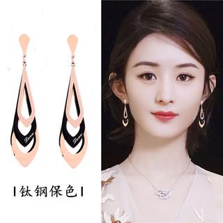 韓國玫瑰金幾何耳墜長款防過敏鈦鋼耳環女氣質百搭顯臉瘦的耳飾品