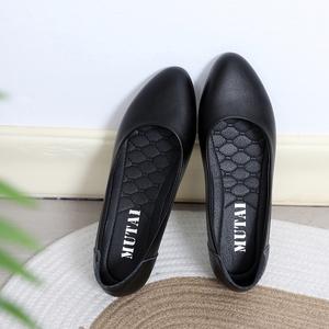 工作鞋女黑色平底空姐酒店上班皮鞋