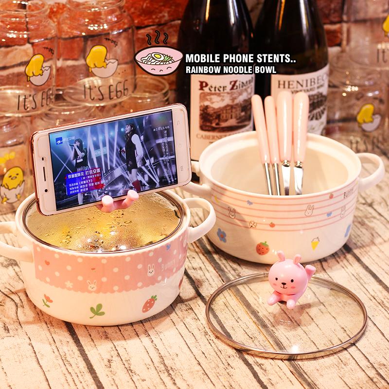 日式吃陶瓷面碗带盖家用卡通大号个性创意可爱大碗杯汤碗可微波炉