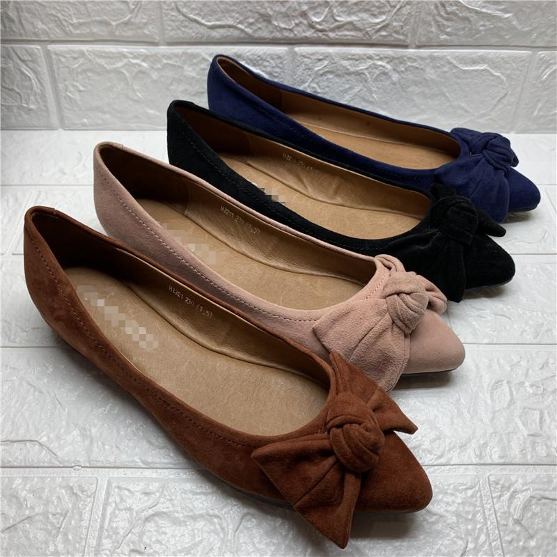 品牌撤柜19秋季新款尖头平底鞋蝴蝶结羊绒皮舒适休闲女单鞋H2201