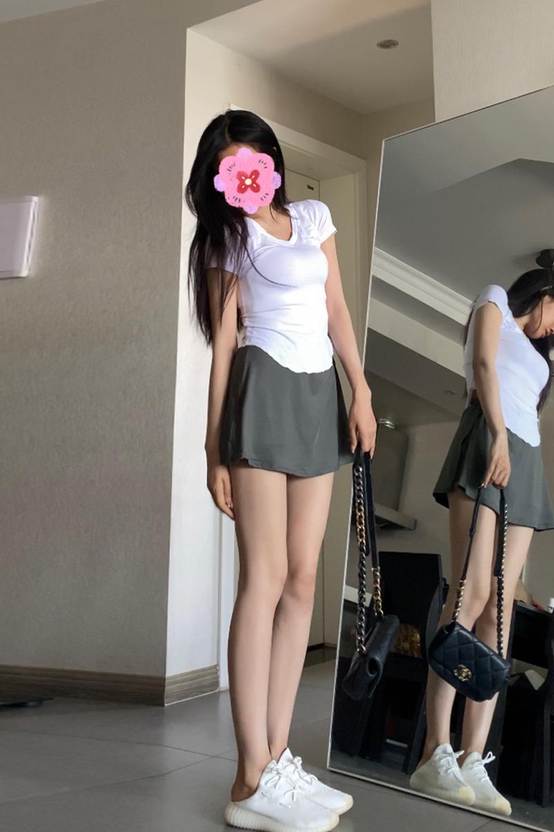 enen包臀短裙女2021夏季新款修身显瘦高腰弹力收腹防走光运动裤裙
