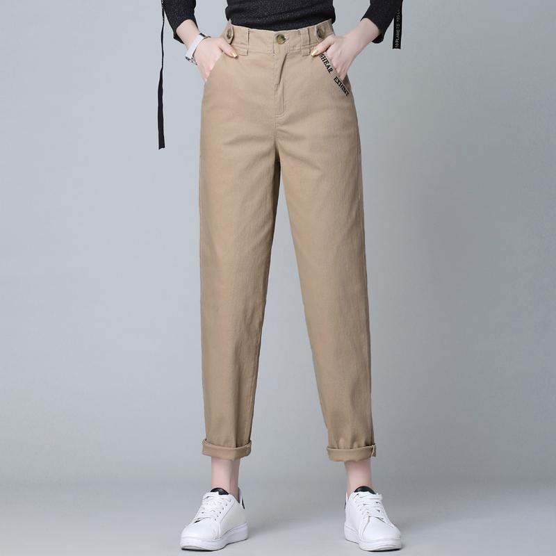 棉质直筒哈伦裤女长裤春秋季休闲裤小脚萝卜裤时尚休闲裤西裤女裤