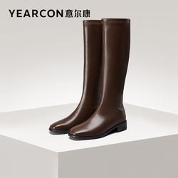 意尔康女鞋2021冬季新款加绒不过膝长筒靴瘦瘦靴皮靴高筒方头粗跟