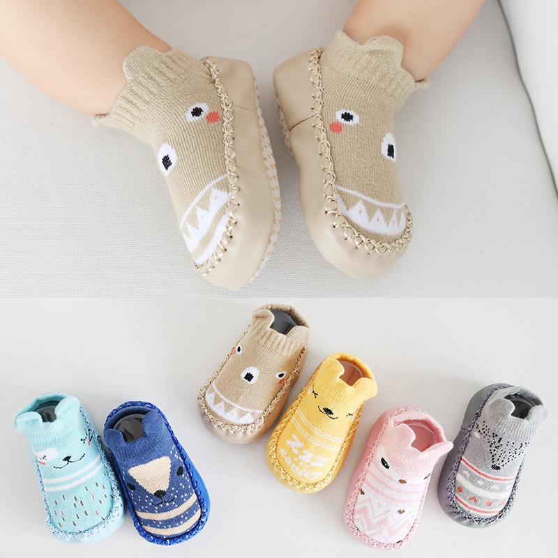 春秋纯棉新生儿鞋袜子松口防滑婴儿袜子0-6-12个月男女宝宝袜