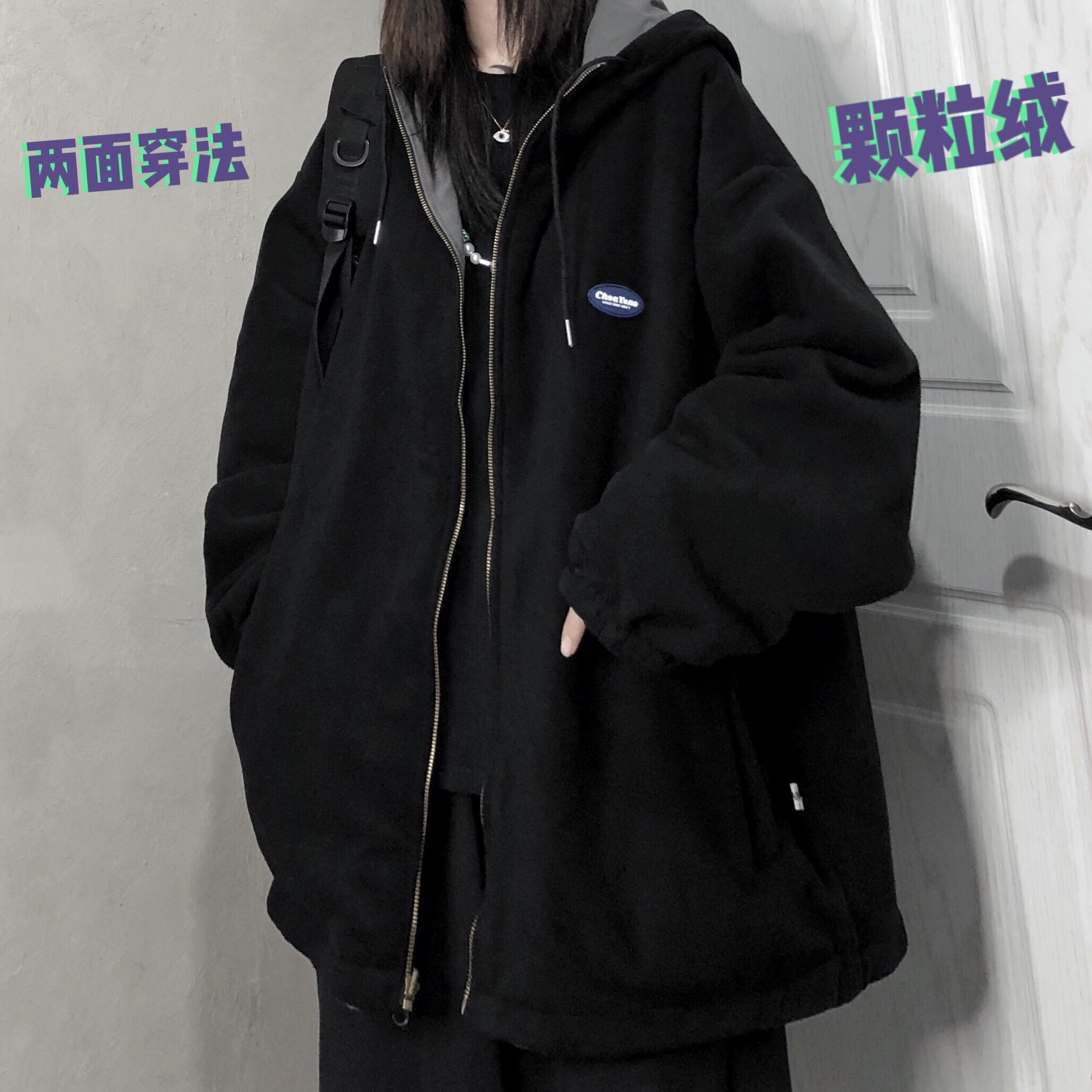 妈个鸡妈 韩国ins冬季新款宽松颗粒绒加厚连帽两面穿棉衣外套男女