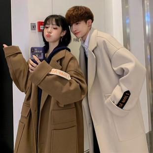 新款 冬季 韩版 情侣装 毛呢大衣男士 港风潮流外套学生百搭风衣 中长款