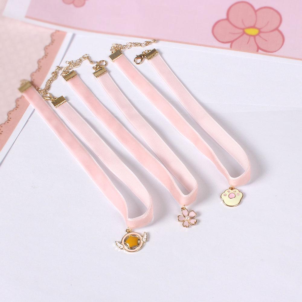 5936 青島飾品廠家 日系軟萌系列 粉嫩絲絨 貓爪印 櫻花星項鏈