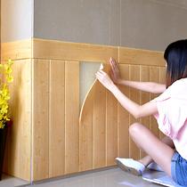 墙纸自粘3d立体墙贴木纹卧室温馨客厅墙围背景墙防水防潮泡沫贴纸
