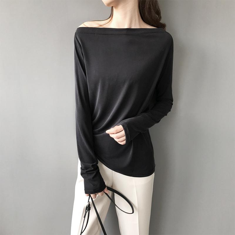 2020秋季新款莫代尔T恤女长袖修身一字领露肩上衣性感百搭打底衫