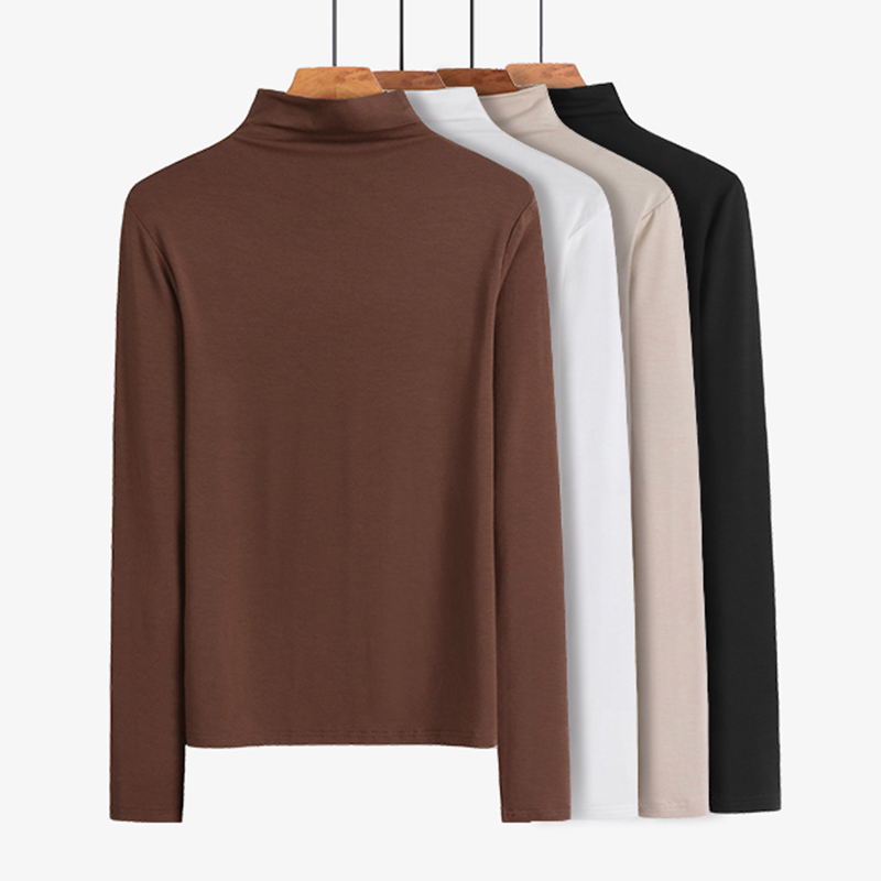 2 pieces of 59 yuan | modal half high collar bottomed shirt long sleeve T-shirt womens 2020 foreign style autumn new built-in top