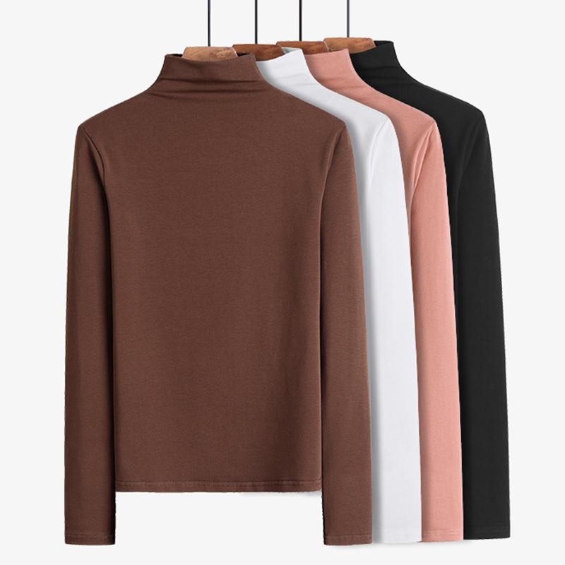 2 pieces of 59 yuan half high collar cotton base shirt long sleeve T-shirt womens 2020 foreign style autumn new black top
