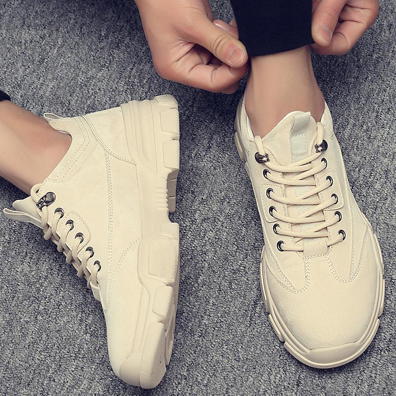 男鞋秋季透气老爹休闲鞋子男韩版潮流工鞋装大头低帮皮鞋马丁靴子