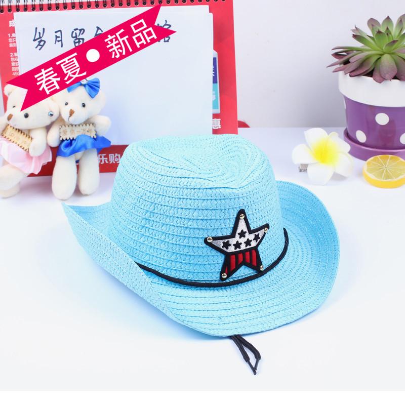 兒童草帽 男童遮陽草帽帽子夏天潮男寶寶太陽帽沙灘 爵士帽