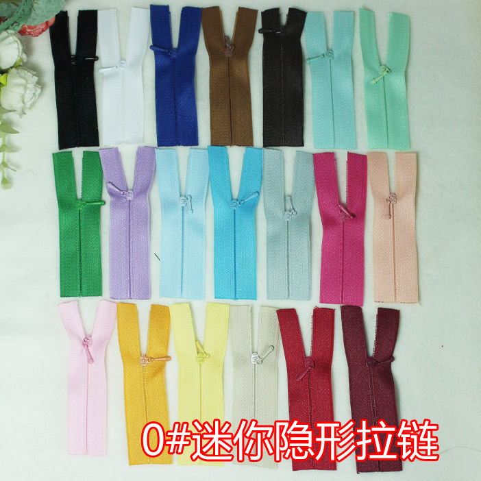 No.0 invisible zipper BJD baby clothes can be used for ultra-fine, ultra short mini, about 9cm long, 20 colors SD DD