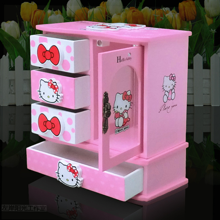 New product lovely princess European KT cat jewelry box jewelry music box wooden girlfriend classmate childrens birthday present