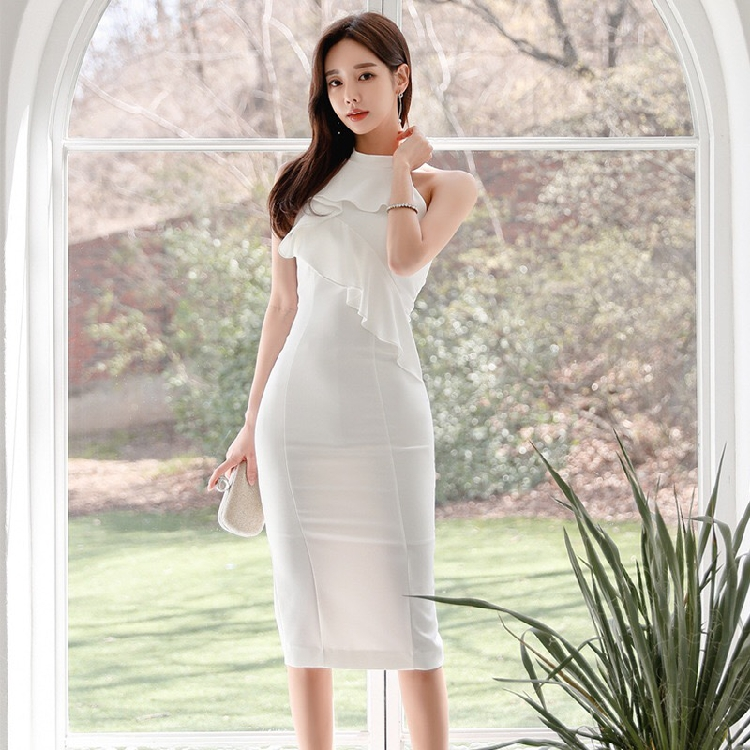 2020 summer white super immortal new celebrity temperament advanced sense package hip fashion pencil skirt 618