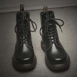 冬季潮鞋男鞋马丁靴男中帮英伦风黑色皮靴高帮工装靴子雪地靴加绒图片