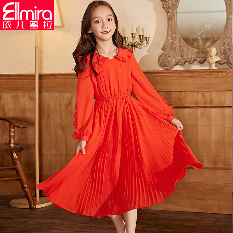 Girls' dress, children's skirt, long sleeve 2020 new spring clothing, Chinese and Korean children's fashionable spring and Autumn